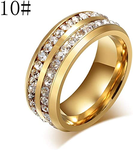 Amazon Com Gbell Unisex Titanium Steel Diamond Ring Wedding Jewelry Simple Engagement Wedding Rings Shiny Gold Anniversary Rings Jewelry Gifts For Women Men Girls Size 6 13 Jewelry