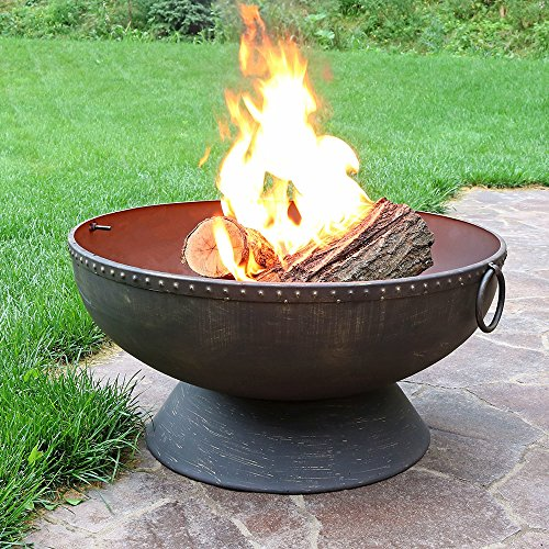 Sunnydaze Outdoor Fire Pit Bowl 30 Inch Large Round Wood