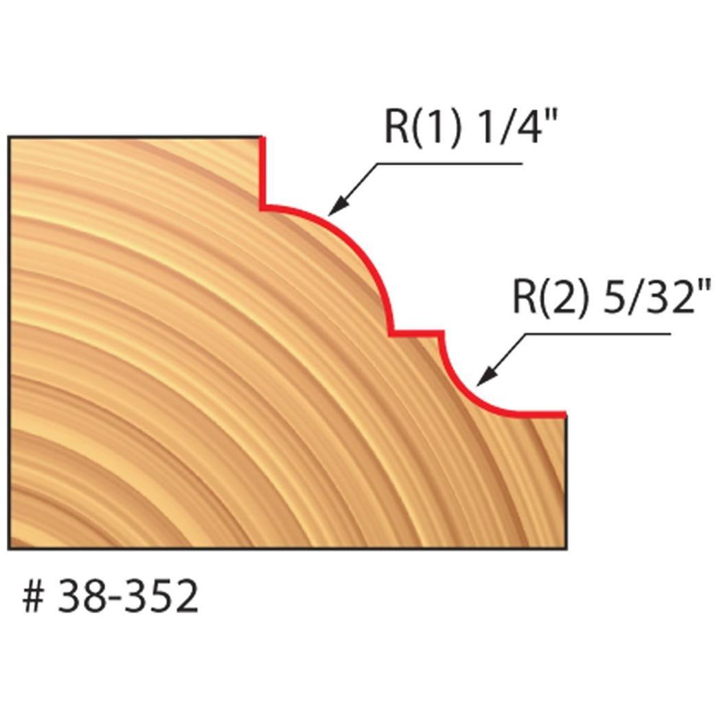 Freud 1-5/8'' (Dia.) Classical Cove & Bead Bit with 1/4'' Shank (Quadra-Cut) (38-352)