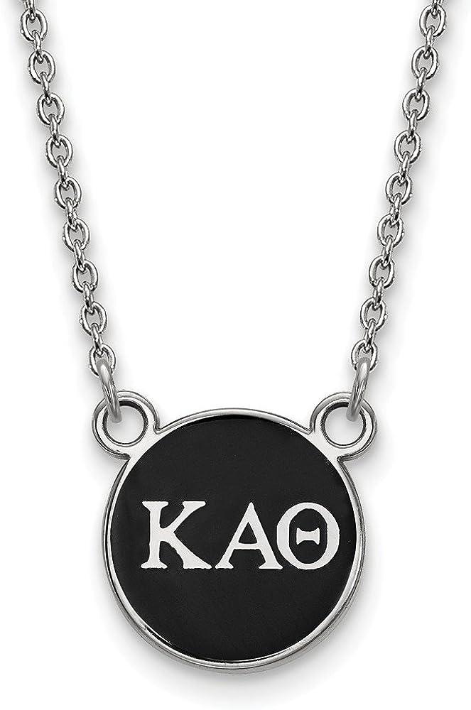 Sterling Silver LogoArt 18in Official Licensed Greek Sororities Kappa Alpha Theta ??? XS Enamel Pendant w//Necklace