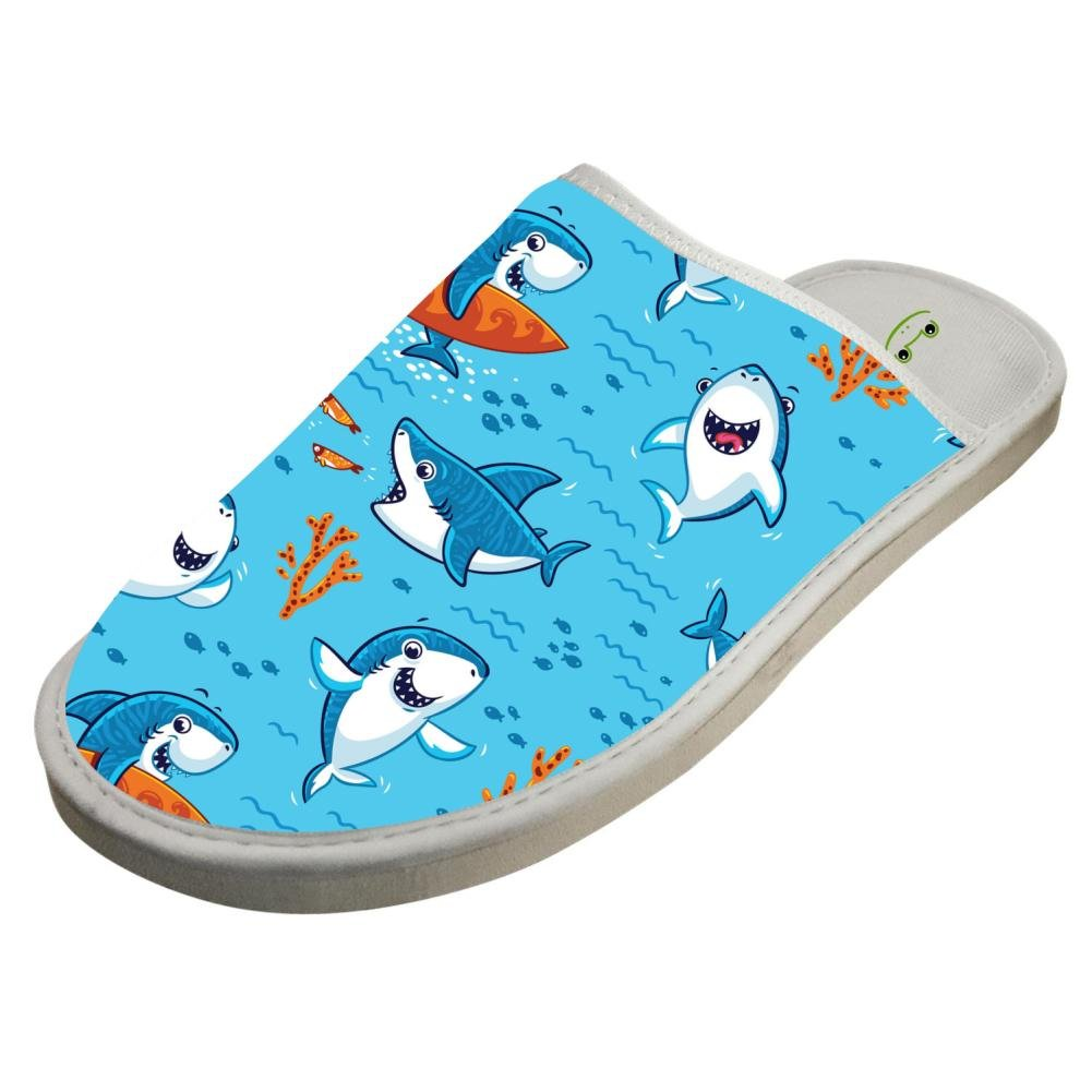 Slippers with Funny Sharks Underwater World 3D Print Indoor Sandals Adults Shoes Flat Winter Sleeppers 9 B(M) US
