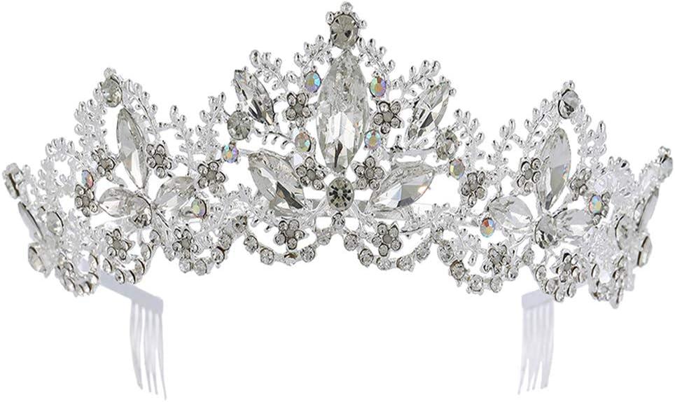 Corona barroca Novia Tiara con peine Corona de pelo de la boda Tocado de novia Mujeres Sombreros Fiesta Decoración del cabello (Plata)
