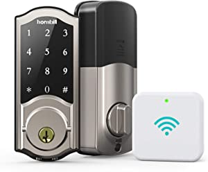 Smart Deadbolt Locks with Keypad - Keyless Entry Digital Front Door Lock with Gateway, Wi-Fi Electronic Bluetooth Auto Lock Work with Alexa, App, for Homes, Offices and Apartments, Silver