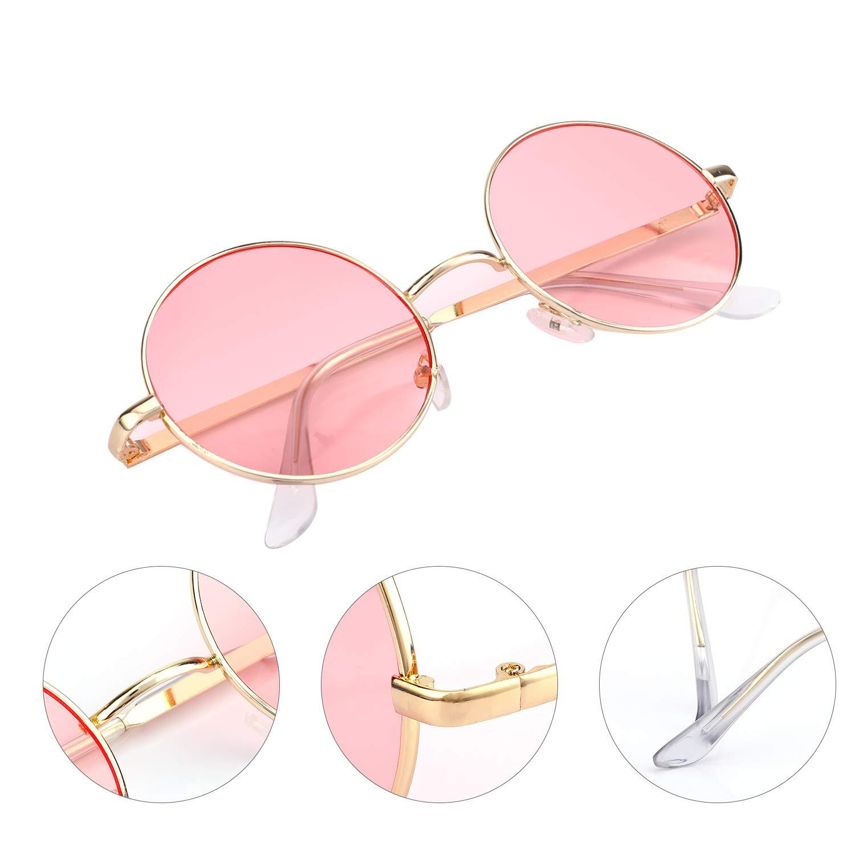 Marco Dorado Rosa Gafas Vintage con 2pcs Pa/ño de gafas 2 Pares Gafas Hippie Gafas de Sol en Forma de Coraz/ón Redondas Retro Gafas Para Los Accesorios De Disfraces Hippie