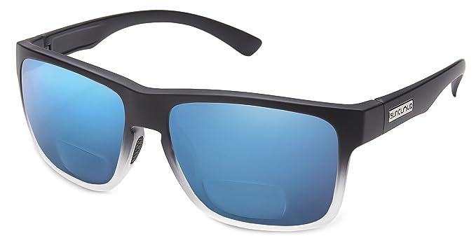 38b17f9675 Suncloud Rambler Polarized Bi-Focal Reading Sunglasses in Black Grey  Fade Blue Mirror Lens