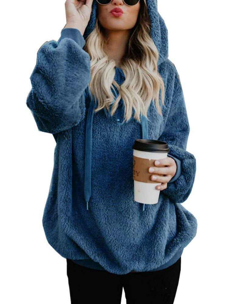 VIENJOY Womens Oversized Warm Double Fuzzy Fleece Long Sleeve Hoodies Casual Pullover Sweatshirt Outwear Denim Blue XX-Large(US 18-20)