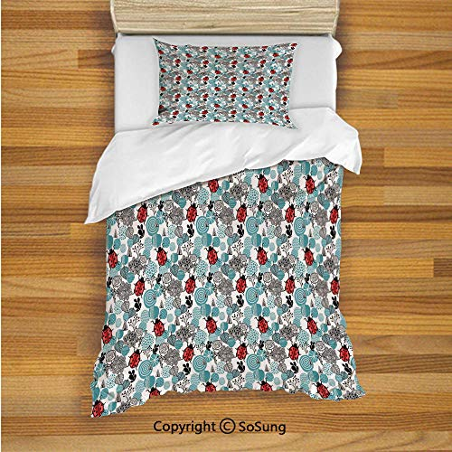 Ladybugs Kids Duvet Cover Set Twin Size, Romantic Elements Flowers Roses Bugs Abstract Pattern in Doodle Style 2 Piece Bedding Set with 1 Pillow Sham,Pale Blue Red Black