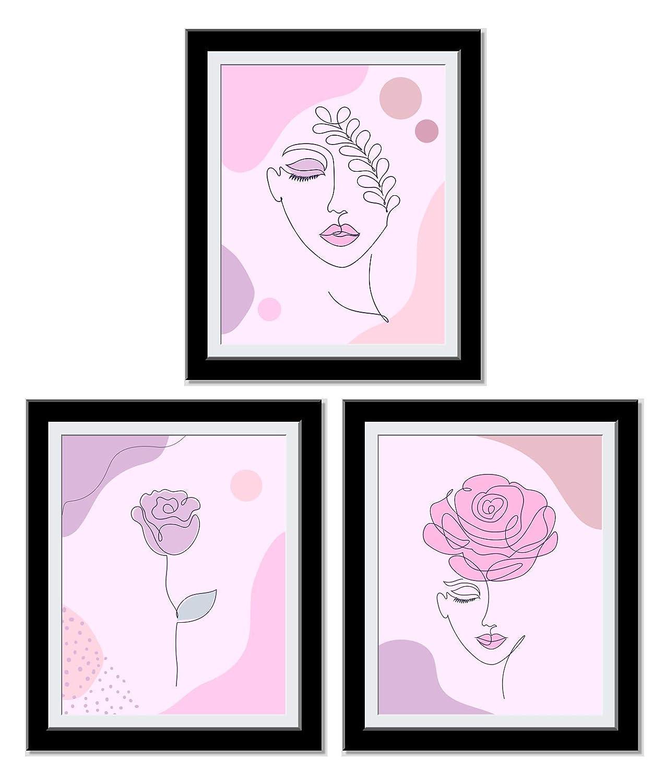 Posters For Room Aesthetic - Female Rose Line Art - Abstract Art - Boho Decor - Minimalist Wall Art - Cute, Trendy Art Prints - Gift For Her - 8X10 Unframed…