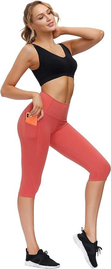ThusFar Yoga Pants with Pockets for Women High Waist Sport Runing Workout Capri Leggings