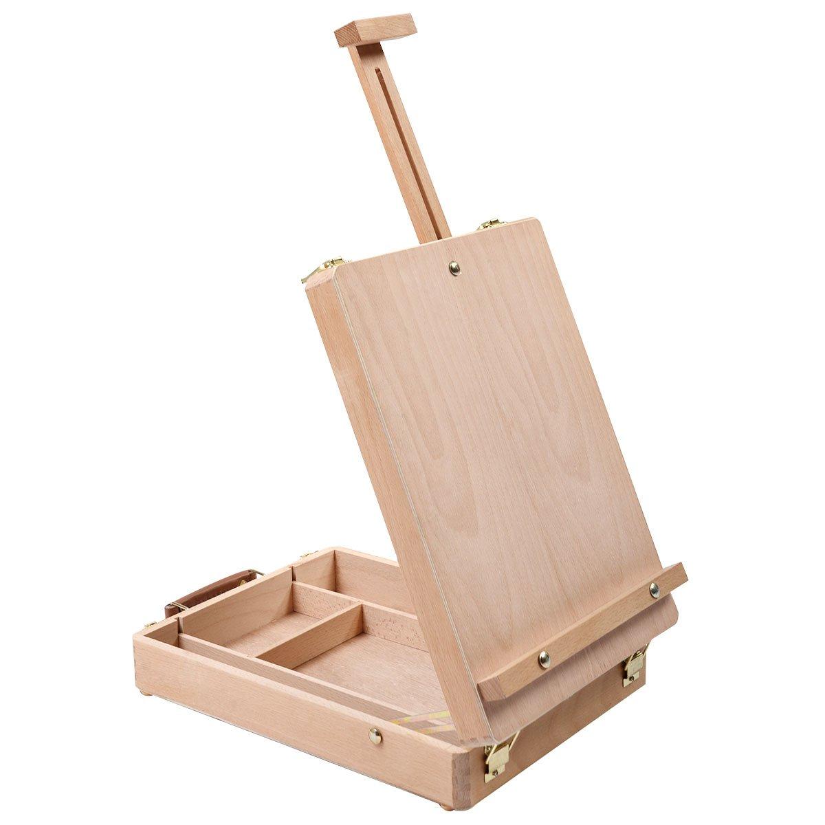 Costway, cavalletto per disegno e pittura in legno, per tavolo, durevole Open and Close Easel Natural Wood