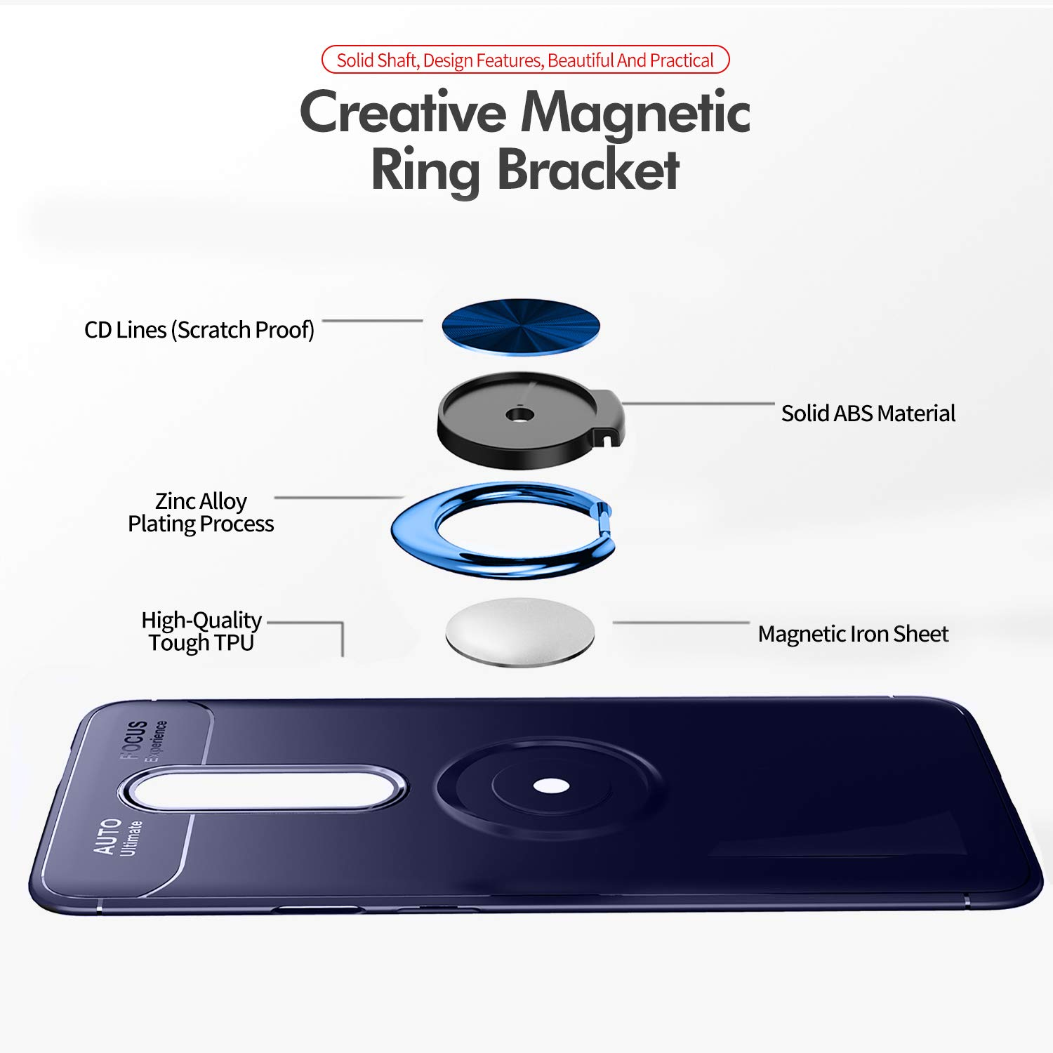 Newseego Compatible with Oneplus 7 Pro Case,360/° Adjustable Ring Stand,Frosting Thin Soft Protective and Finger Ring Holder Kickstand Fit Magnetic Car Mount for Oneplus 7 Pro-Blue+Blue