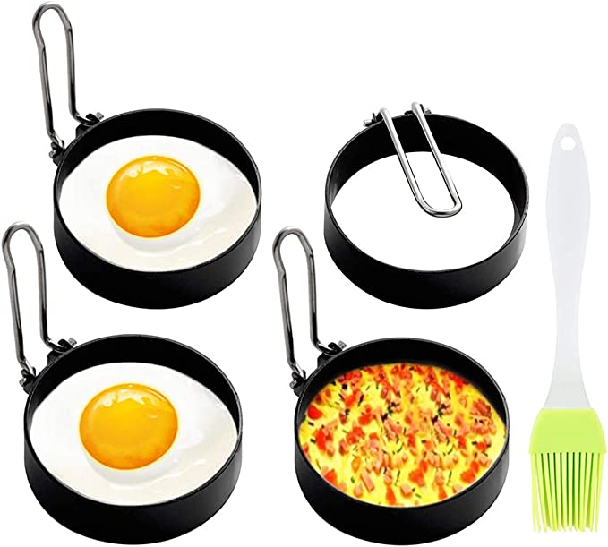 Creative Round Model Egg Pancake Mold Ring Handles Frying Frieds Nonstick O1Y0