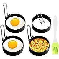 Anillo de huevo, 4 unidades de moldes antiadherentes para huevos, molde de círculos de acero inoxidable, herramienta de…