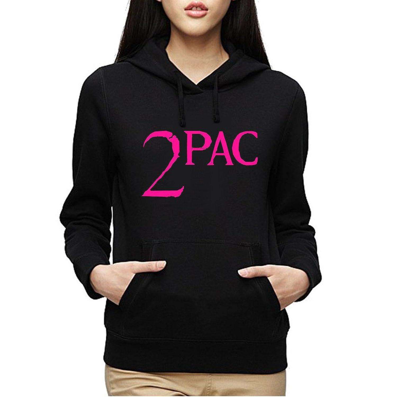 2Pac Pink Logo Hoodie Fleece Girls Sweatshirt Womens Pullover Ladies Black