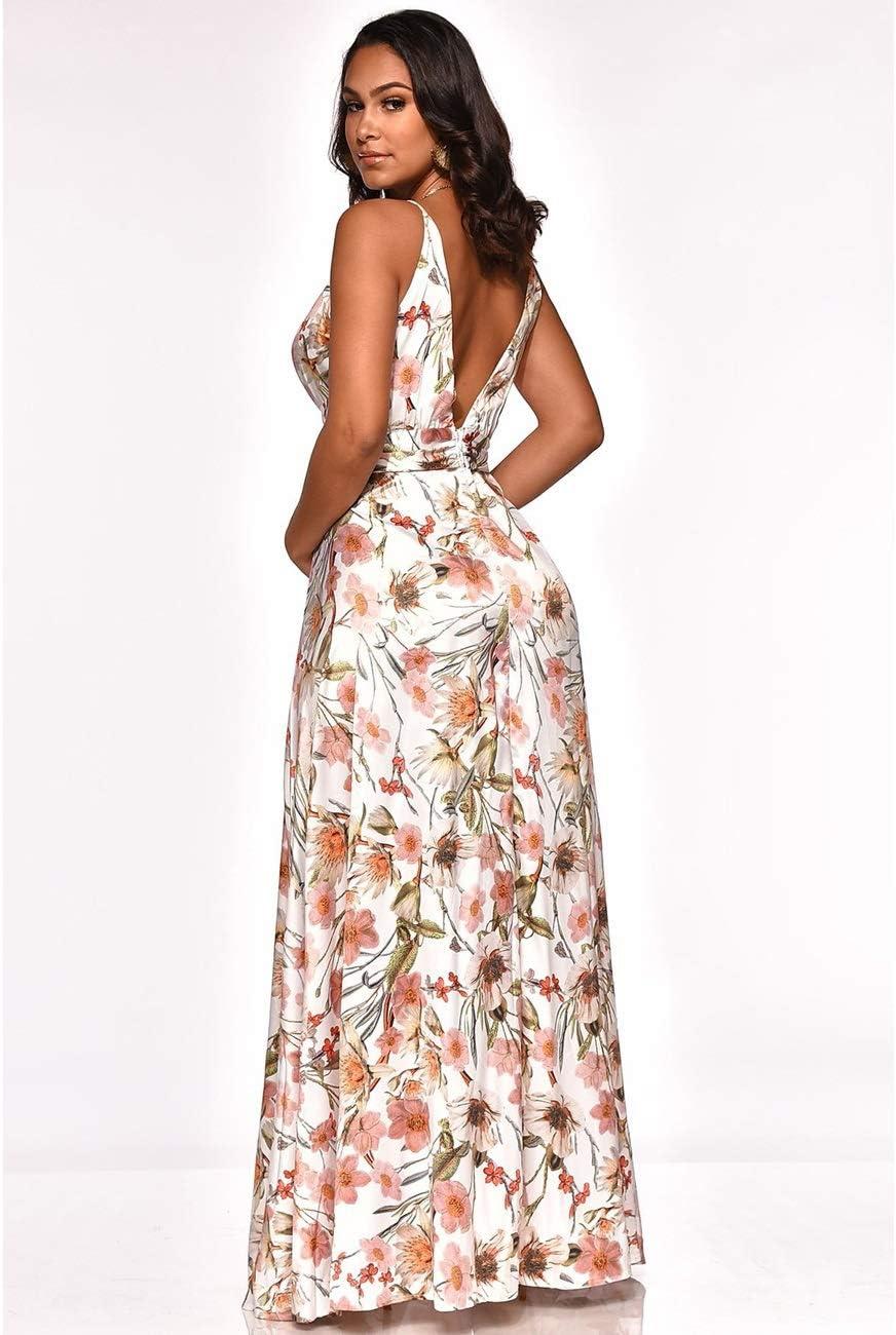 Señoras verano vestido de seda impresa correa de la correa con ...