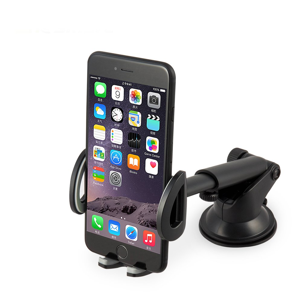 """Chesmart Car phone Mount Holder,Cradles Universal Windshield & Dashboard Car Phone Holder with Flexible Support iPhone, Samsung Galaxyand All phones 3.5""""-6"""""""