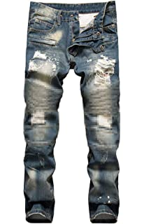 Amazon.com: WEEN CHARM Mens Denim Distressed Slim Fit Ripped ...
