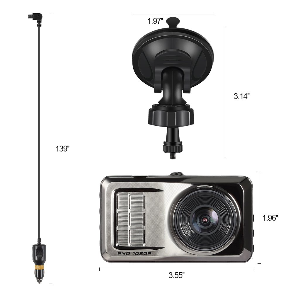 Lavuky Dash Cam Car Camera,DR05 Full HD DVR with 4 TFT Screen//Night Vision//170/° Wide Angle//Built-in G-Sensor//Motion Detection//Parking Monitor