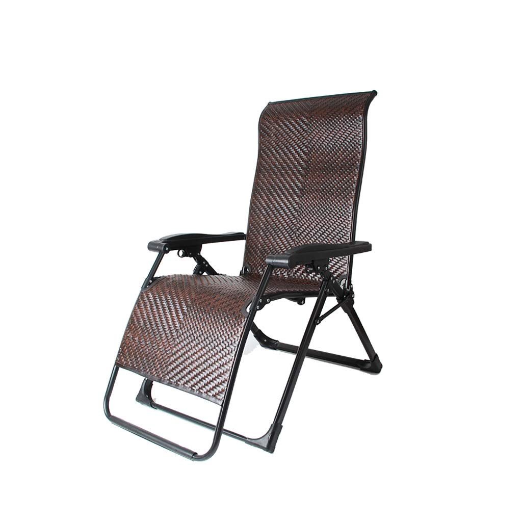YYTLTY Wicker Chair Reclining Lawn Chair, Zero-Gravity Chair, Adjustable for Seat and Recliner, for Terrace Outings and Picnics Easy to Use (Color : Brown 1) by YYTLTY