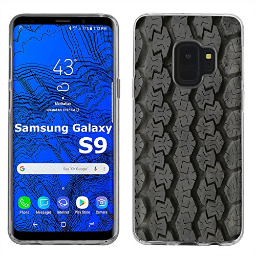 [Mobiflare] Samsung Galaxy S9 TPU Silicone Phone Case for [Clear] Ultraflex Thin Gel Phone Cover | Screen Protector Included | - [Tire Tracks]