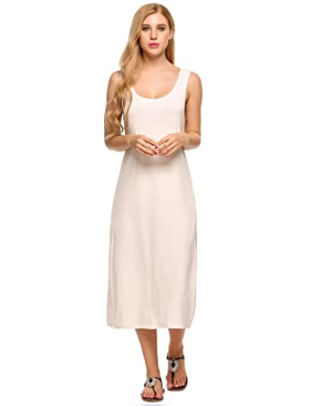 329b1f200109 Meaneor Women's Sleeveless O Neck Tank Top Camisole Dresses Loose Beach  Dresses With Side Pockets,