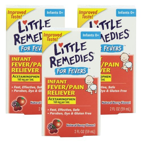 Little Remedies Fever Pain Reliever, 2 Fluid Ounces, Pack of 3