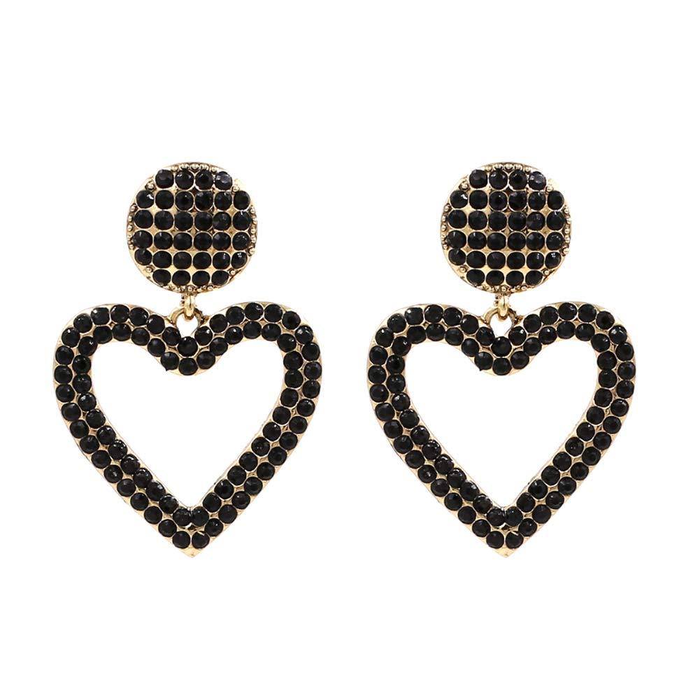 d4c2e52dc Amazon.com: Black Crystal Open Heart Statement Drop Earrings KELMALL  COLLECTION: Jewelry