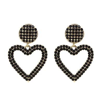 9a6f41626 Amazon.com: Black Crystal Open Heart Statement Drop Earrings KELMALL ...