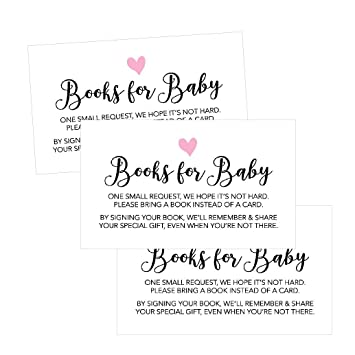 Amazon 25 books for baby request insert card for girl pink 25 books for baby request insert card for girl pink hearts baby shower invitations or invites filmwisefo