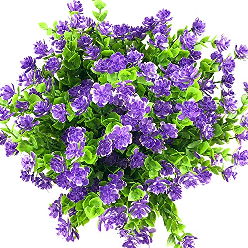 E-HAND Artificial Flowers Outdoor UV Resistant Plants Shrubs Boxwood Plastic Leaves Fake Bushes Greenery for Window Box Home Patio Yard Indoor Garden Light Office Wedding Decor Wholesale-4 Pack (Best Flowers To Plant At Cemetery)
