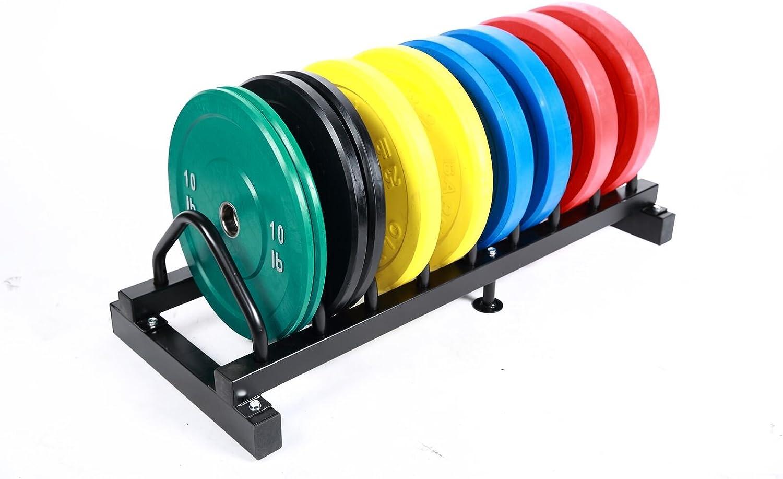 Solid Rubber Plates Set w Rack- 10,15,25,35,45 Color 1.25,2.5,5 Steel Plates