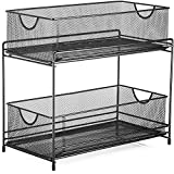 "Halter Two Tier Mesh Storage Drawers Baskets for Laundry Kitchen Office Bathroom and More - 14"" X 12.75"" X 6.75"" - Black"