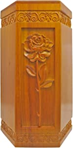 DABEETU Wood Urn, Cremation Urns for Human Ashes Adult - Hand Engraving Rose Flower - Funeral Urn for Mother/Father - Display Burial at Home or in Niche at Columbarium (170 Cu/in - Large Wooden Urn