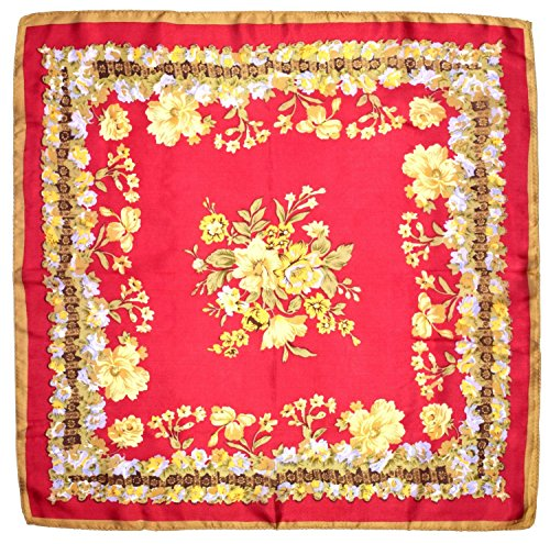 Red Yellow Flowers Printed Small Square Fine Silk Scarf by Bees Knees Fashion (Image #1)