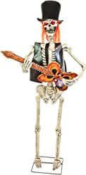 Halloween Haunters Life-Size Animated Standing Zombie Skeleton Guitar Player with Leather Vest, Top Hat and Red Hair - Prop Decoration - Thick Rubber Latex