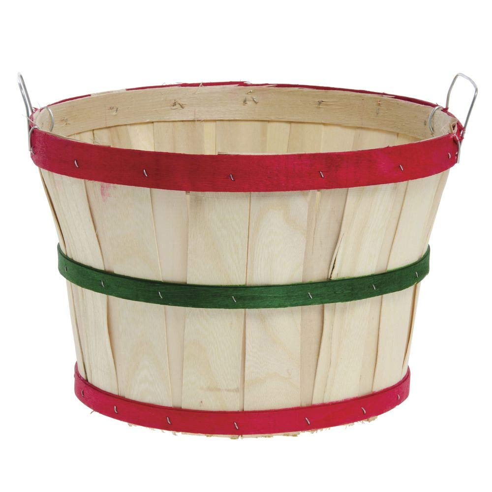 Texas Basket Co. Natural Half Bushel Basket w/Red & Green Hoops