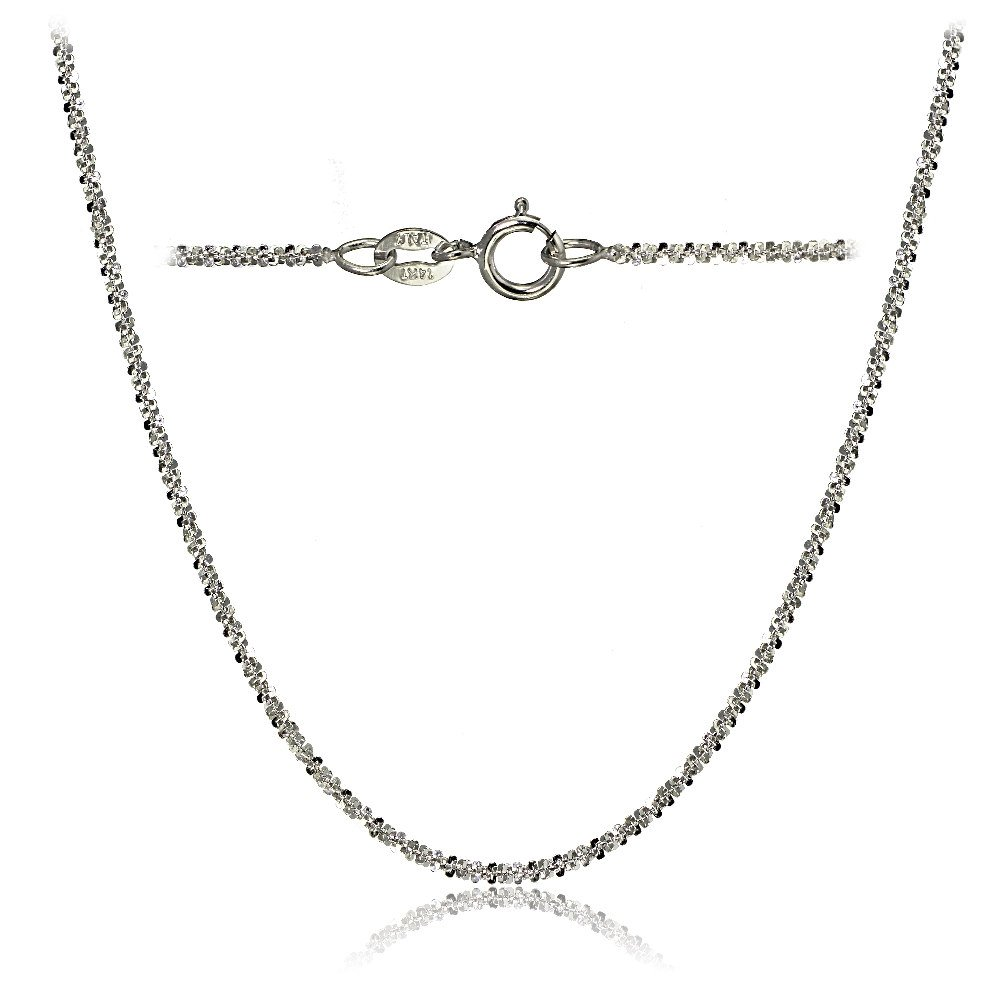 Bria Lou 14k White Gold 1.3mm Italian Rock Rope Chain Necklace, 16 Inches