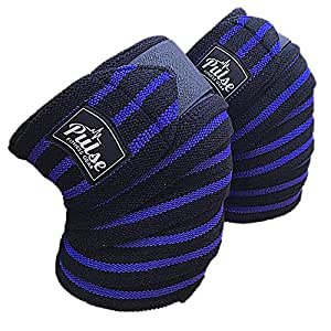 Knee Wraps by Pulse Fitness Gear for Knee Support, Powerlifting, Fitness, Knee Brace Compression, and The Best Knee Straps for Squats. Provides Excellent Compression and Elastic Support (Blue)