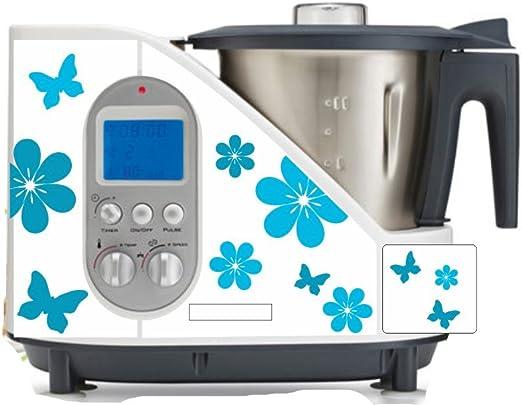 Pegatinas para robot de cocina, flores, turquesa, para SC 100: Amazon.es