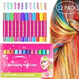 Angker Hair Chalk, Hair Dye Color, Hair Chalk Set, Non-Toxic Temporary Portable Hair Coloring Chalk, for Party, Cosplay, Halloween, Christmas, Washes Out Easily and Last Longer with No Mess(12 Color)