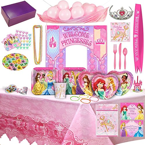 Disney Princess Birthday Party Supplies & Decorations - 8 Guests (177 (Disney Princess Cake Decoration)