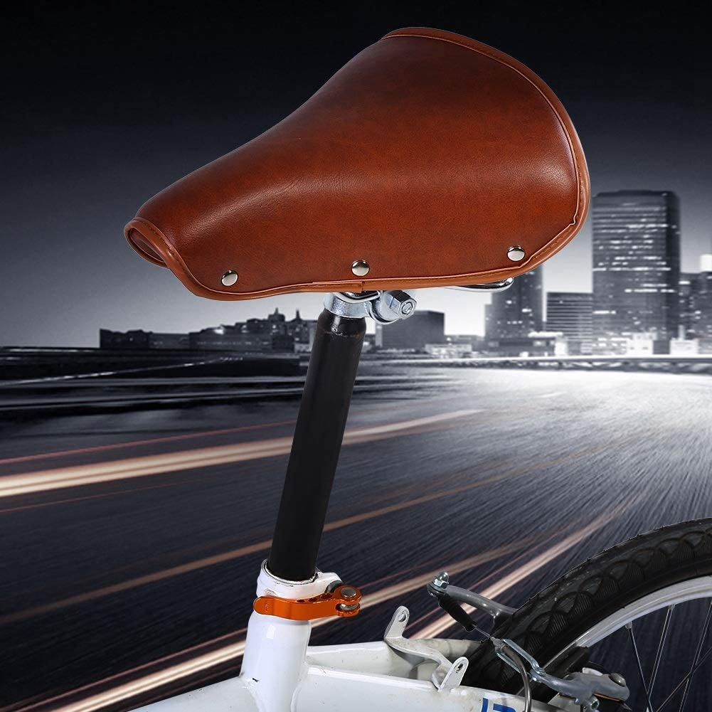 Nikou Wide Bicycle Seat Bicycle Saddle Brown Rivets Bike Seat,Comfortable Brown Rivets Bike Seat Durable PU Leather Spring Great Replacement Bike Saddle with Padding for Women and Men