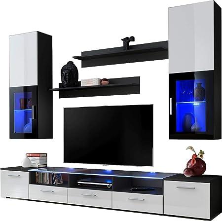 ExtremeFurniture Shine Mueble para TV, Carcasa en Blanco Mate/Frente en Blanco Alto Brillo + LED Azul: Amazon.es: Hogar