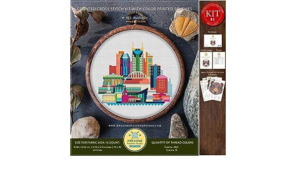 Embroidery Kits Stitching Needlepoint Embroidery Stitches City Skyview Cross Stitch Embroidery Nashville #K103 Embroidery Kit