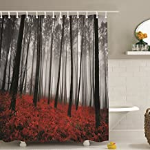 Messagee Fabric Shower Curtain Farmhouse Country Home Woodland Deco Mystic Forest Trees and Leaves Red Grass Modern Art Foggy Gray Scene