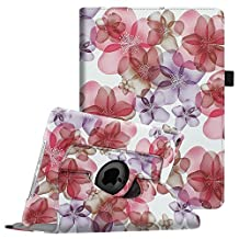 Fintie iPad Air 2 Case - 360 Degree Rotating Stand Case with Smart Cover Auto Sleep / Wake Feature for Apple iPad Air 2 (iPad 6) 2014 Model, Floral Purple