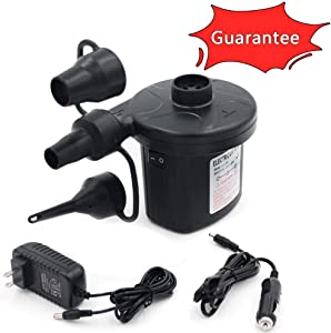 Electric Air Pump Portable Qucick-Fill Air Pump with 3 Nozzles 110v AC/12VDC Lightweight Inflatable and Deflator for Inflatables Air Mattress Bed Inflatable Cushions