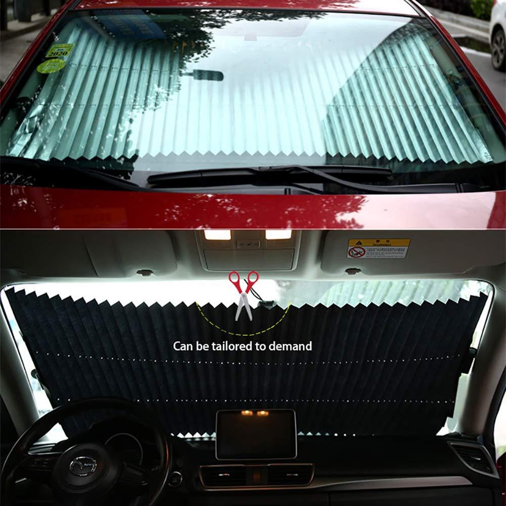 80cm 46 Centimetri FJW Parabrezza Auto Retrattile Accessori per Tende da Sole Auto 65cm 70cm Protezione Solare per Auto Adatto alla Maggior Parte dei Veicoli,46cm