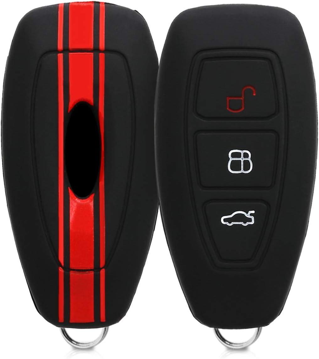kwmobile Funda Compatible con Ford Llave de Coche Keyless Go de 3 Botones - Carcasa Protectora Suave de Silicona - Rally