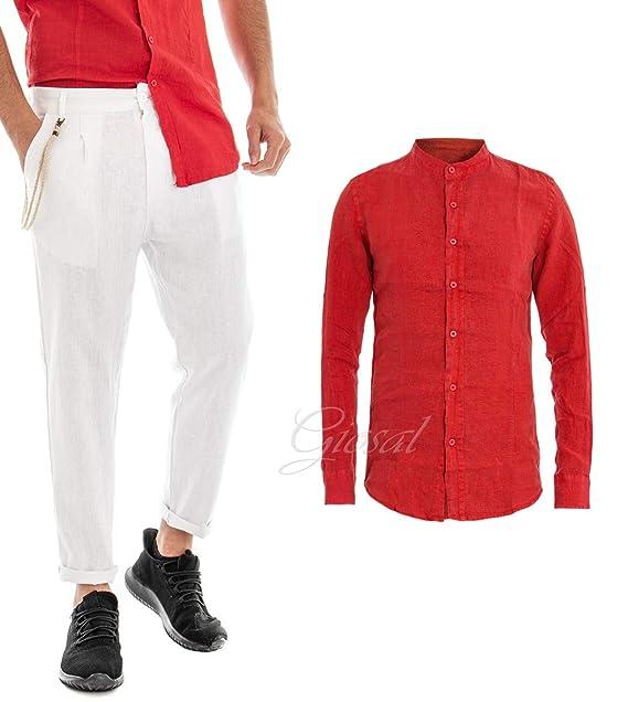Outfit Uomo Completo Camicia Rossa Collo Coreano Pantaloni Lino Bianchi Casual GIOSAL